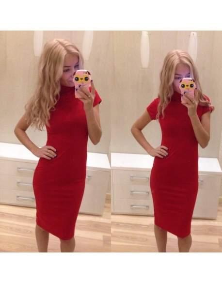 Платье женское трикотажное красное