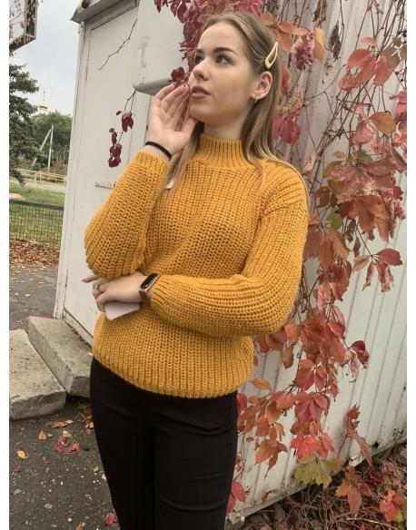 Женский свитер крупной вязки горчица  23985