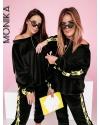 Женский велюровый костюм черный 24319
